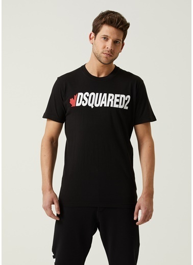Dsquared2 Dsquared2  Logo Baskılı Basic T-shirt 101627962 Siyah